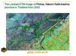 the landsat etm image of phimai nakorn rathchasima province in thailand from 2002
