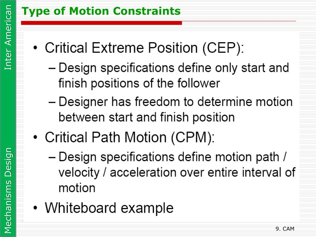 Type of Motion Constraints