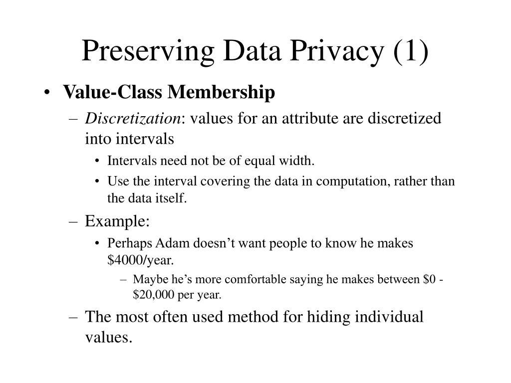 Preserving Data Privacy (1)