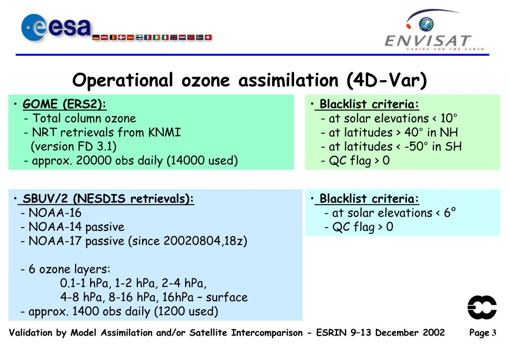 Operational ozone assimilation (4D-Var)