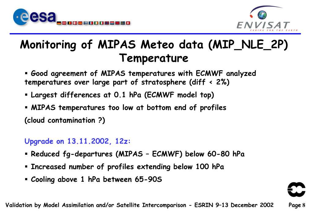 Monitoring of MIPAS Meteo data (MIP_NLE_2P)
