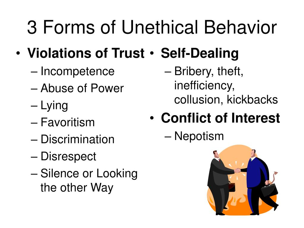 3 Forms of Unethical Behavior