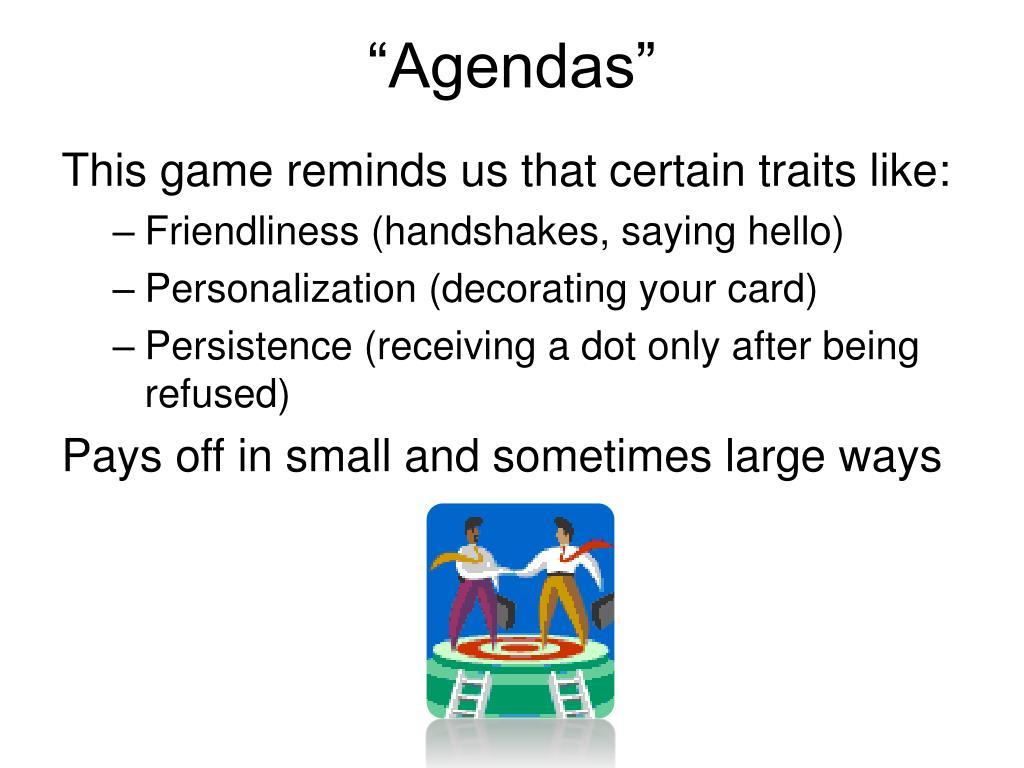 """""""Agendas"""""""