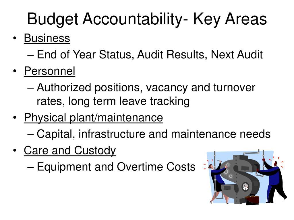 Budget Accountability- Key Areas