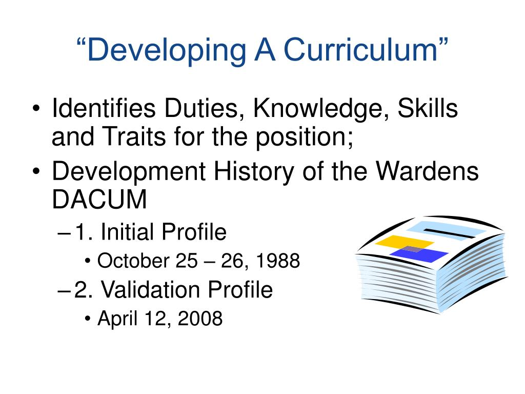 """Developing A Curriculum"""