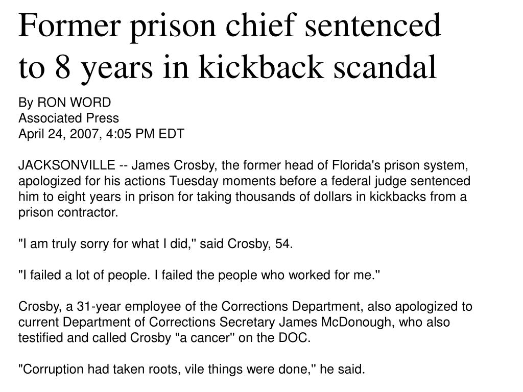 Former prison chief sentenced to 8 years in kickback scandal