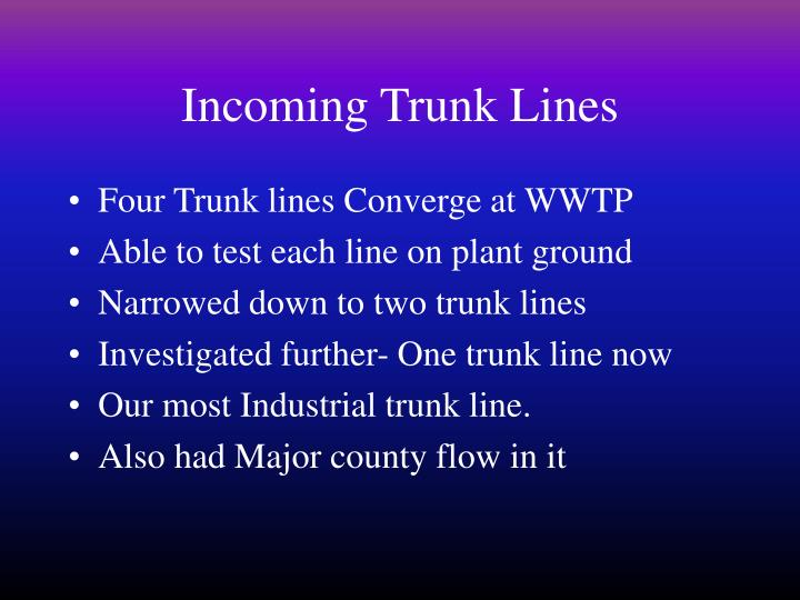 Incoming Trunk Lines