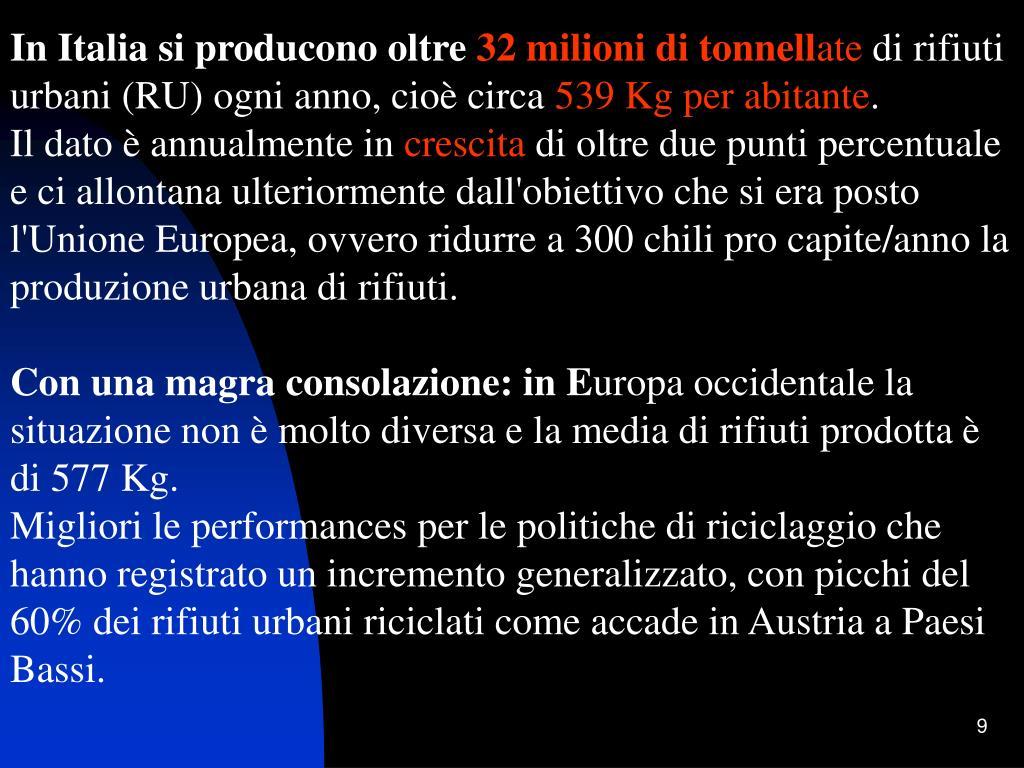 In Italia si producono oltre