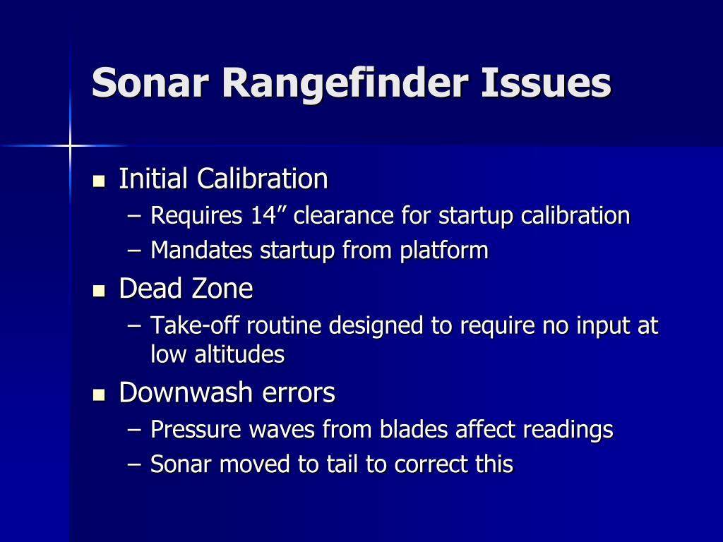 Sonar Rangefinder Issues
