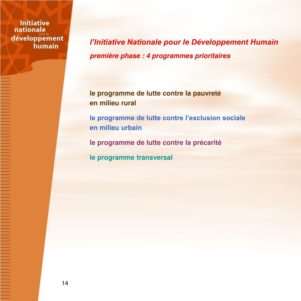 l'Initiative Nationale pour le Développement Humain