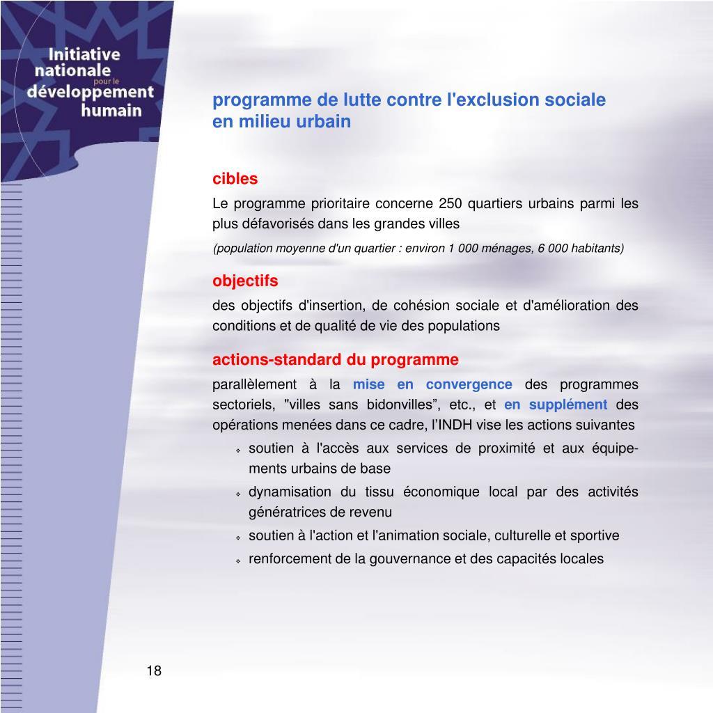 programme de lutte contre l'exclusion sociale