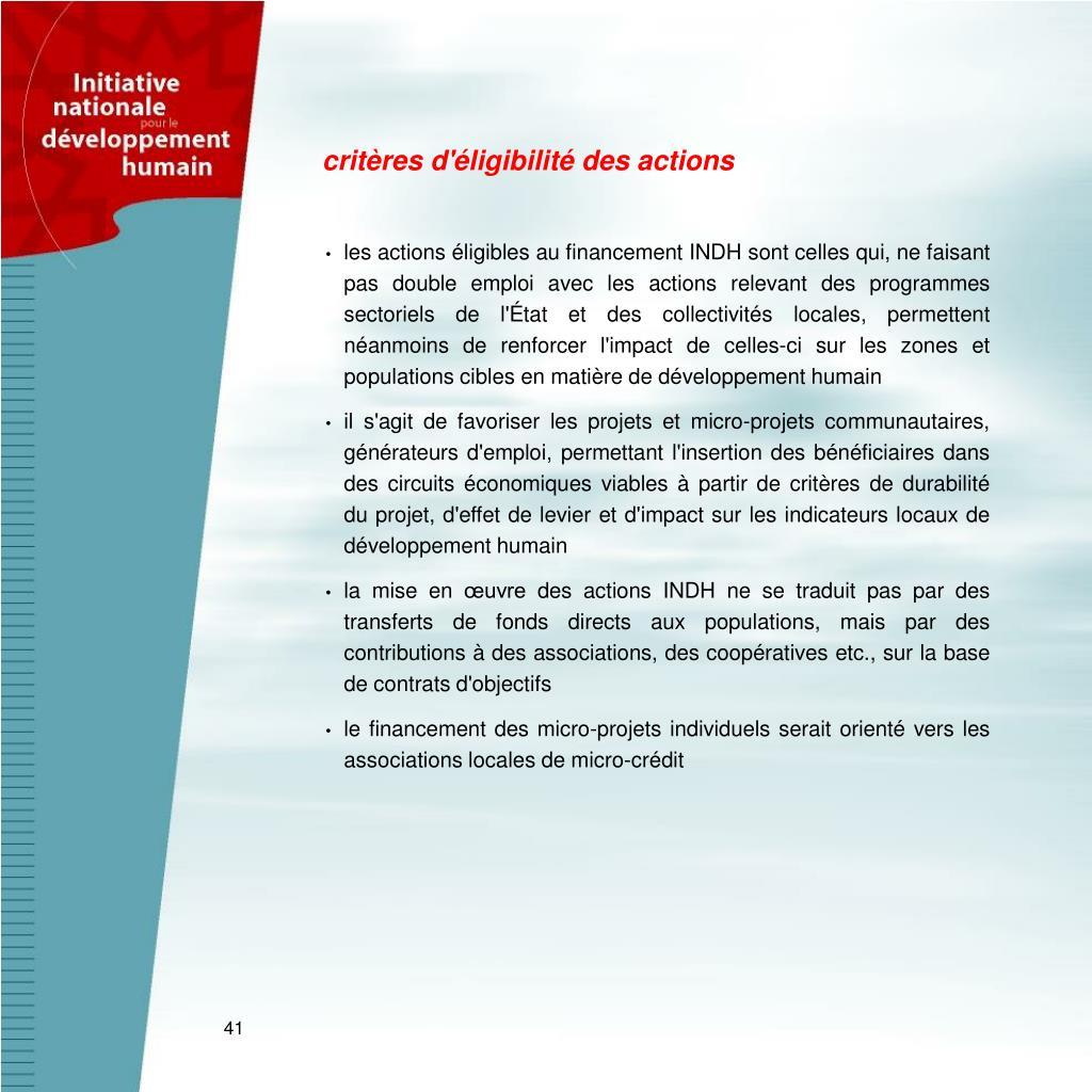 critères d'éligibilité des actions