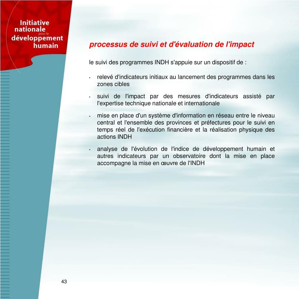 processus de suivi et d'évaluation de l'impact