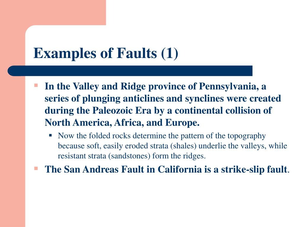 Examples of Faults (1)