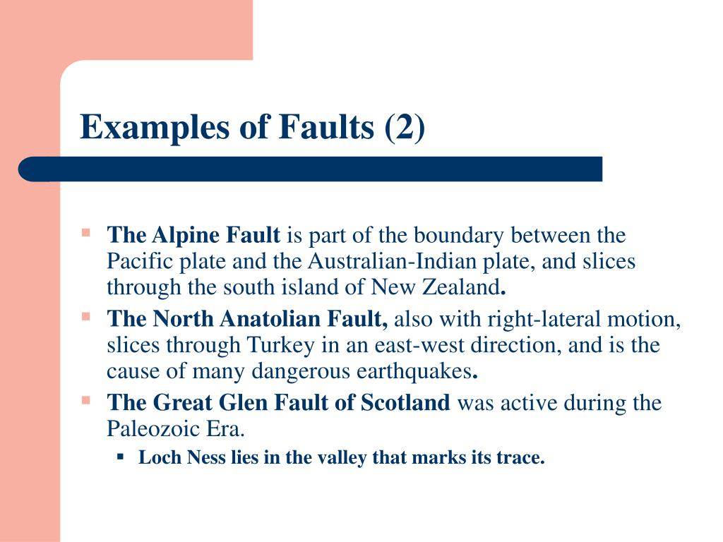 Examples of Faults (2)