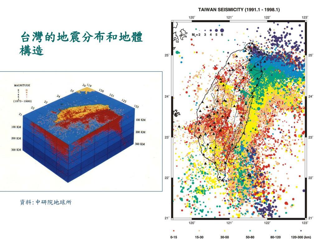 台灣的地震分布和地體構造