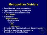 metropolitan districts