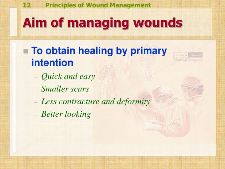 Aim of managing wounds
