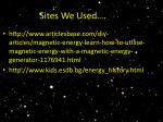 sites we used