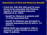 association of hla and melacine benefit