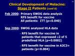 clinical development of melacine stage ii patients cont d21