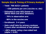 sample size timing of primary analysis