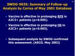 swog 9035 summary of follow up analysis by corixa of may 2001 database