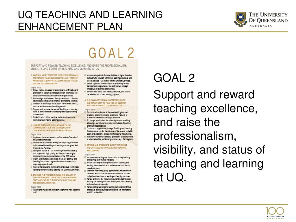 UQ TEACHING AND LEARNING ENHANCEMENT PLAN