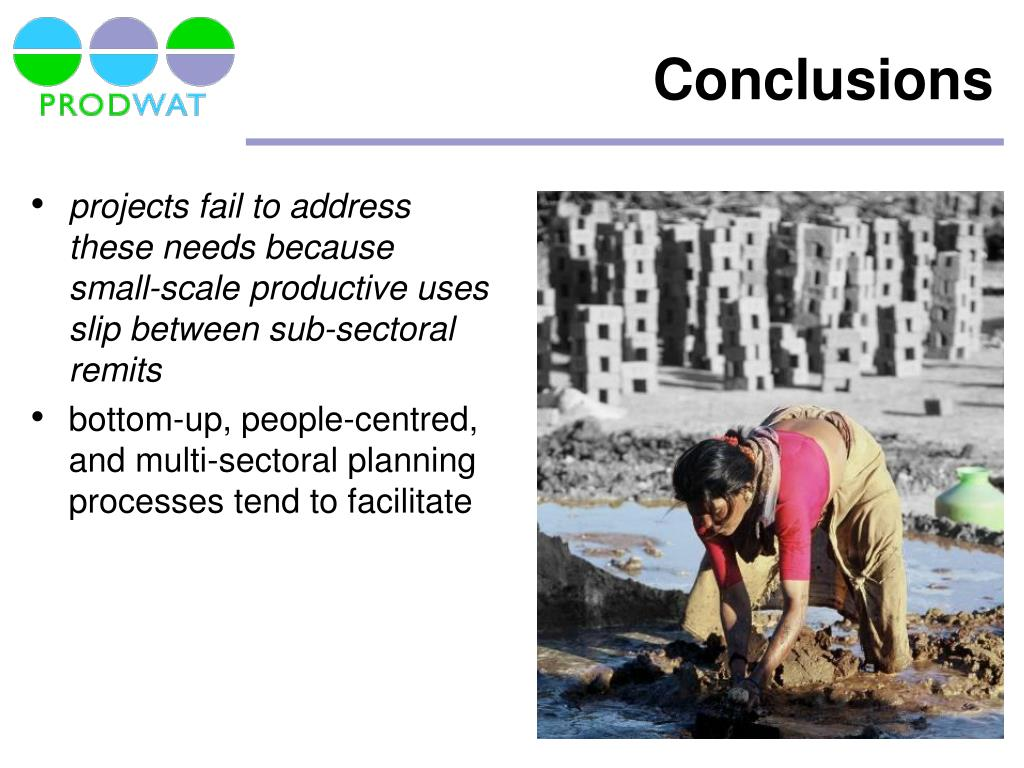 projects fail to address these needs because small-scale productive uses slip between sub-sectoral remits