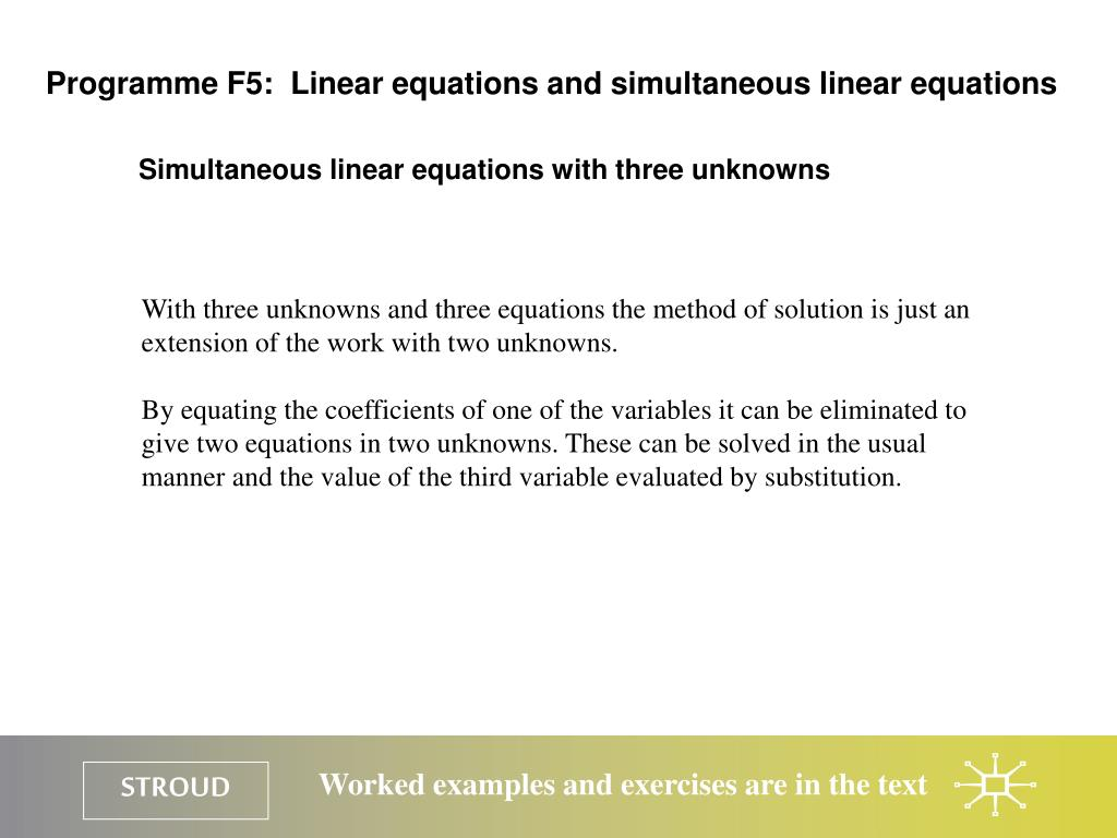 Programme F5:  Linear equations and simultaneous linear equations