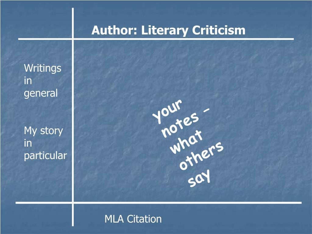 Author: Literary Criticism