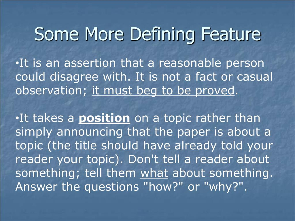 Some More Defining Feature