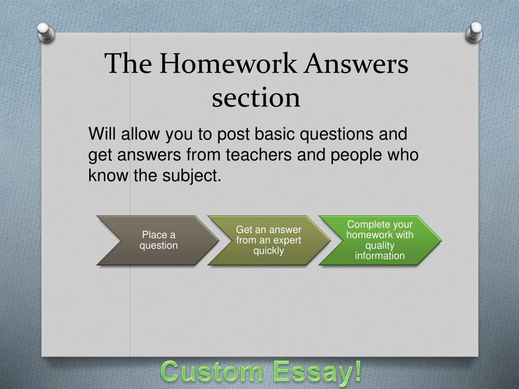 The Homework Answers section