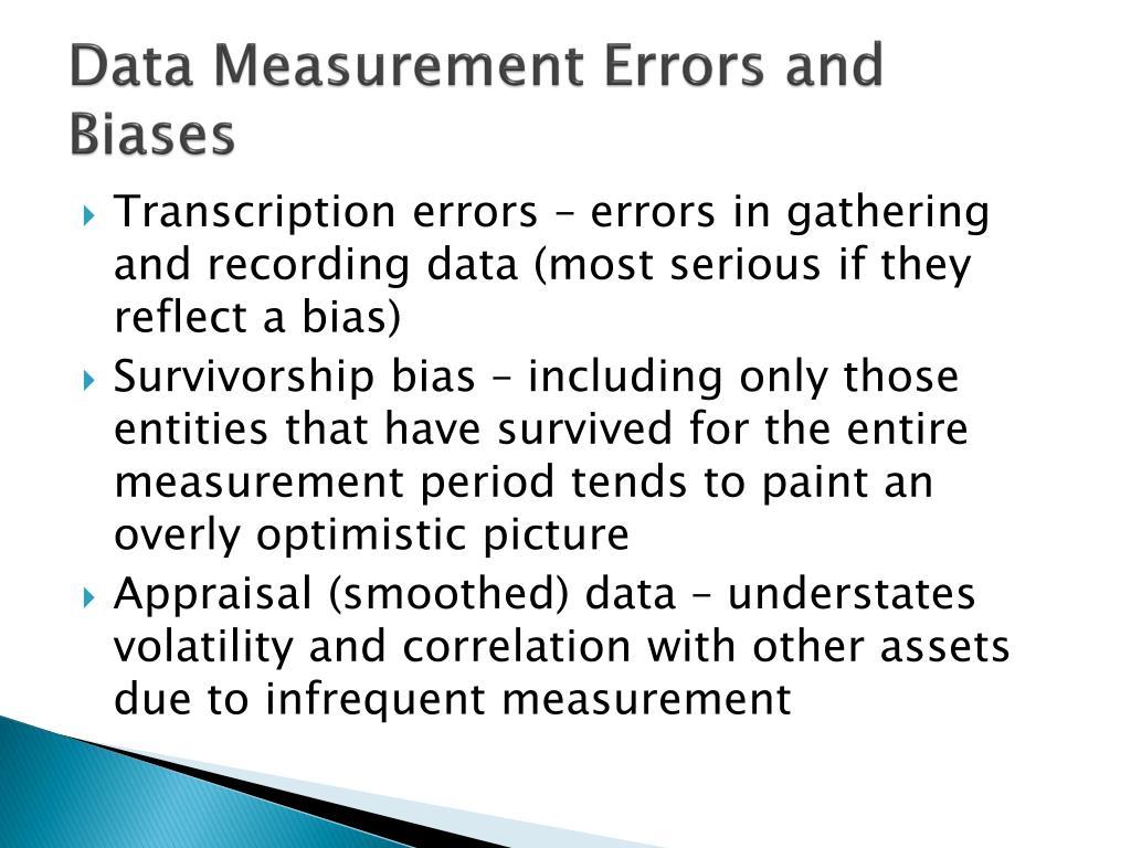 Data Measurement Errors and Biases