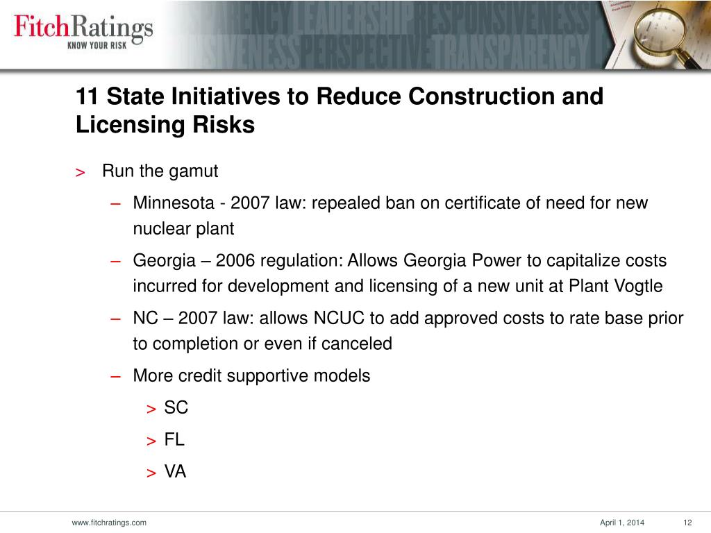 11 State Initiatives to Reduce Construction and Licensing Risks