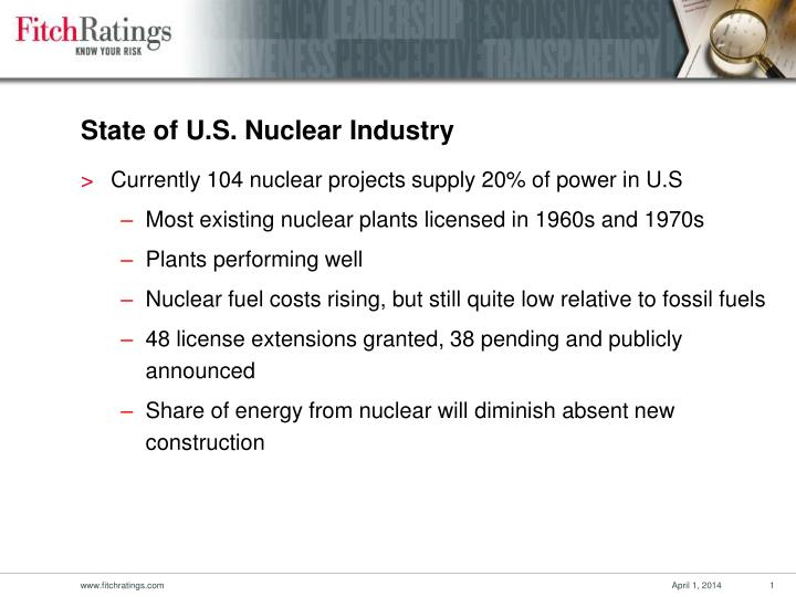 State of u s nuclear industry
