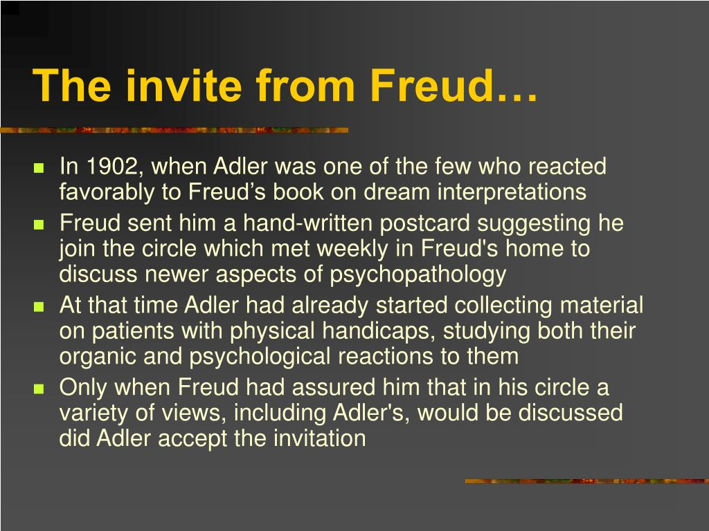 The invite from Freud…