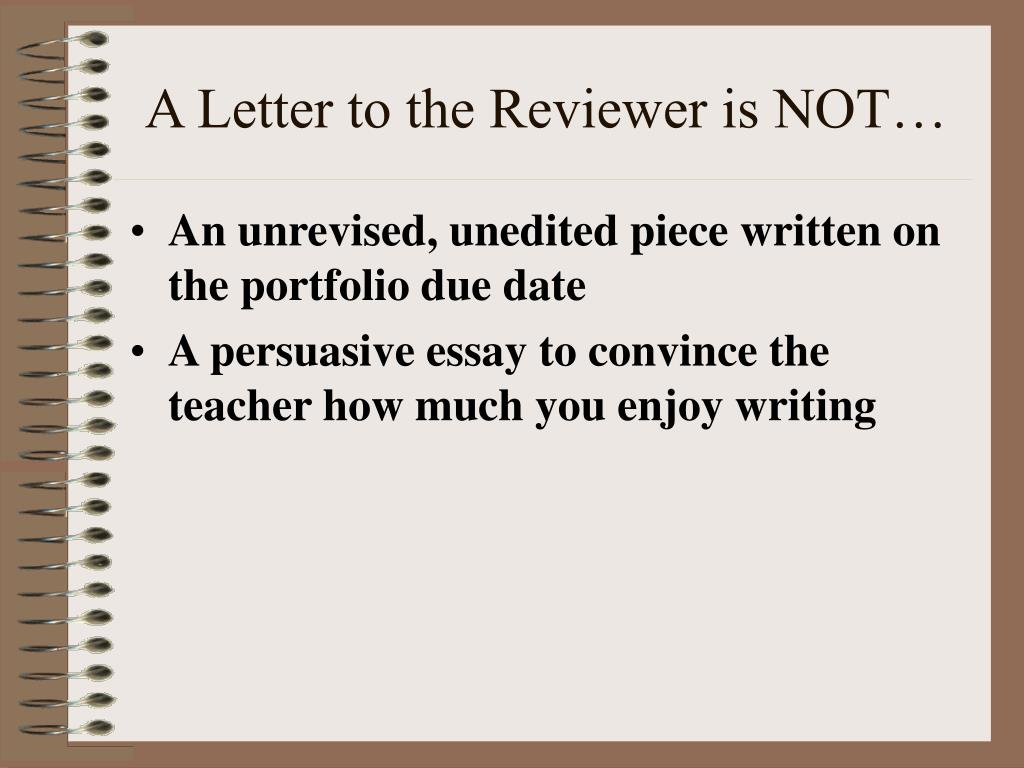 A Letter to the Reviewer is NOT…
