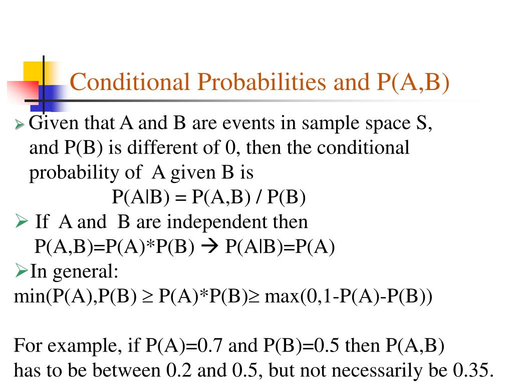 Conditional Probabilities and P(A,B)