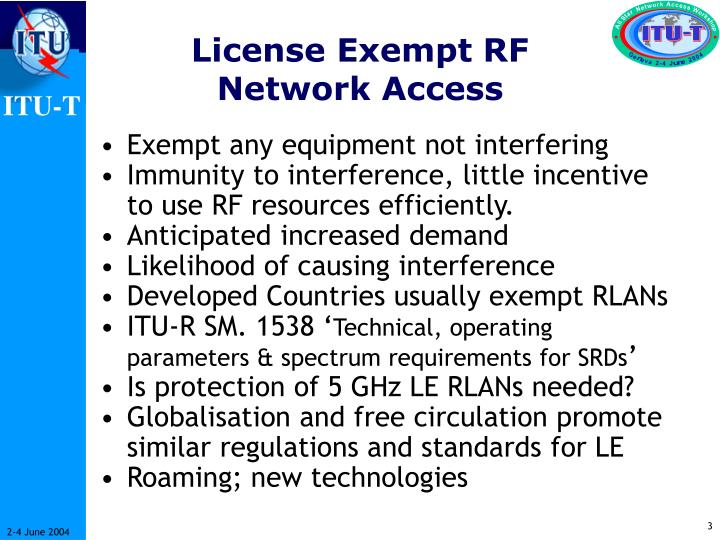 License exempt rf network access