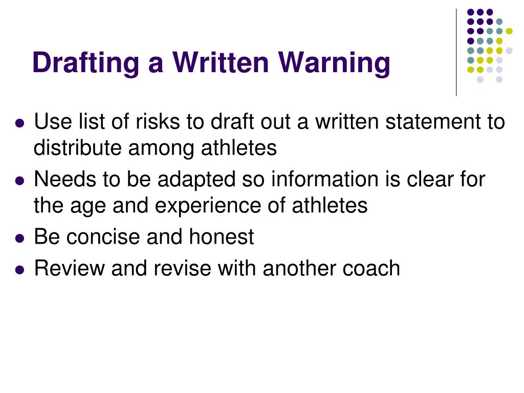 Drafting a Written Warning