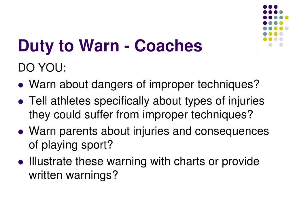 Duty to Warn - Coaches