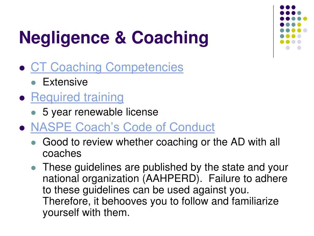 Negligence & Coaching