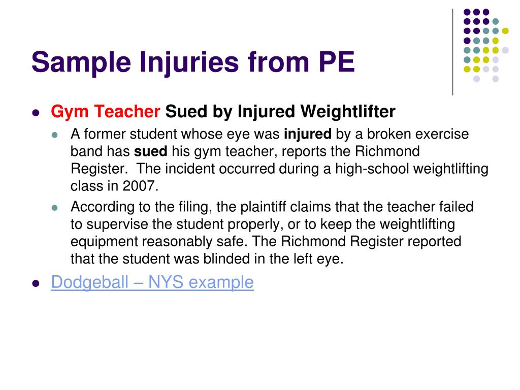 Sample Injuries from PE