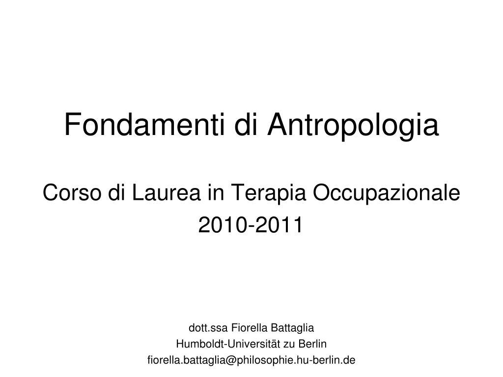 fondamenti di antropologia l.