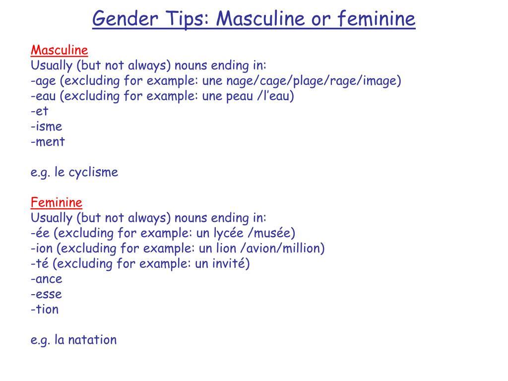 gender tips masculine or feminine l.