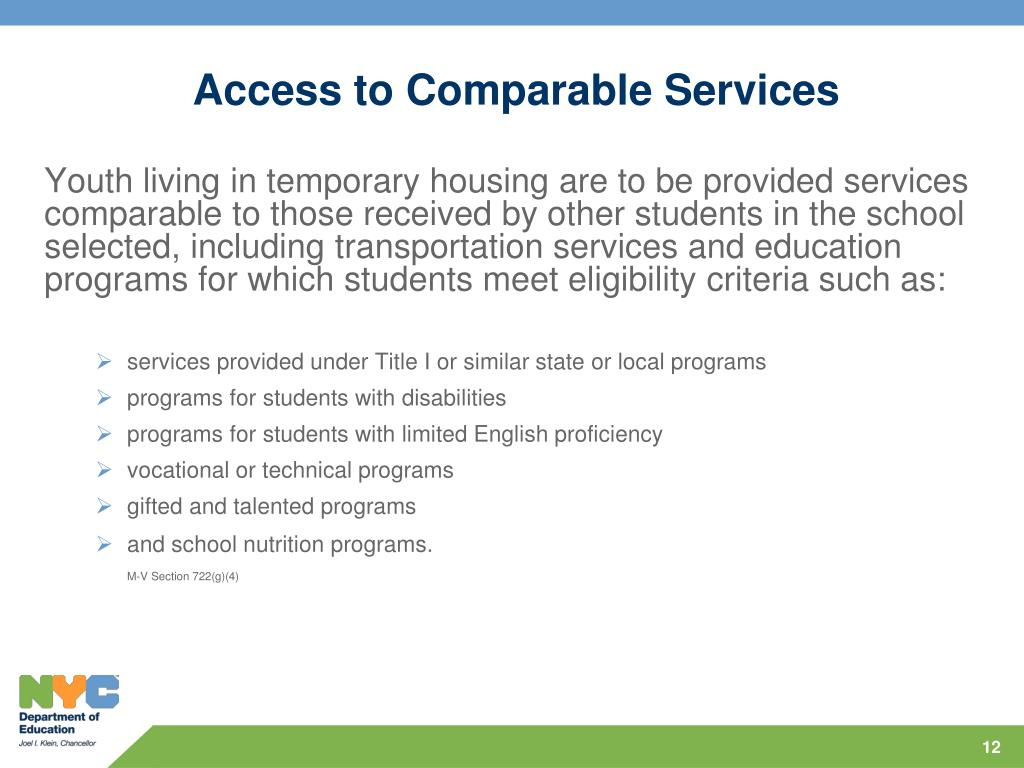 Access to Comparable Services