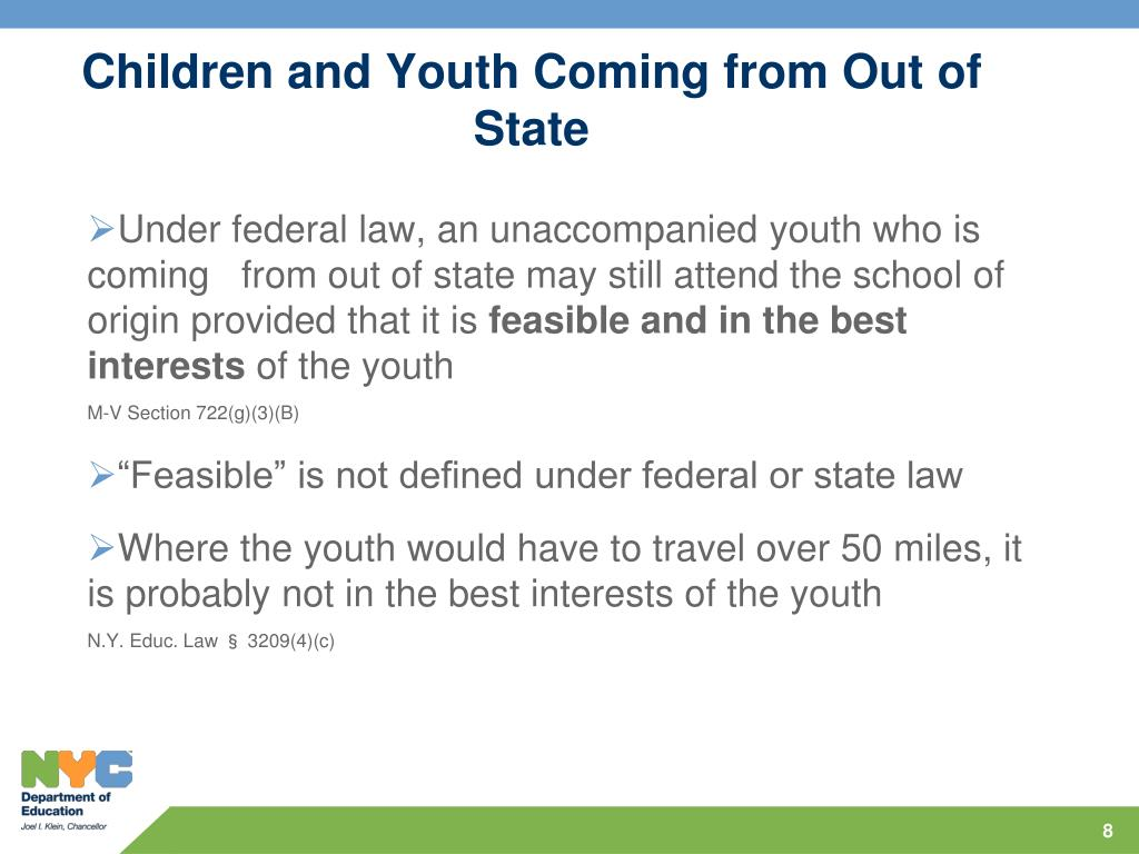 Children and Youth Coming from Out of State