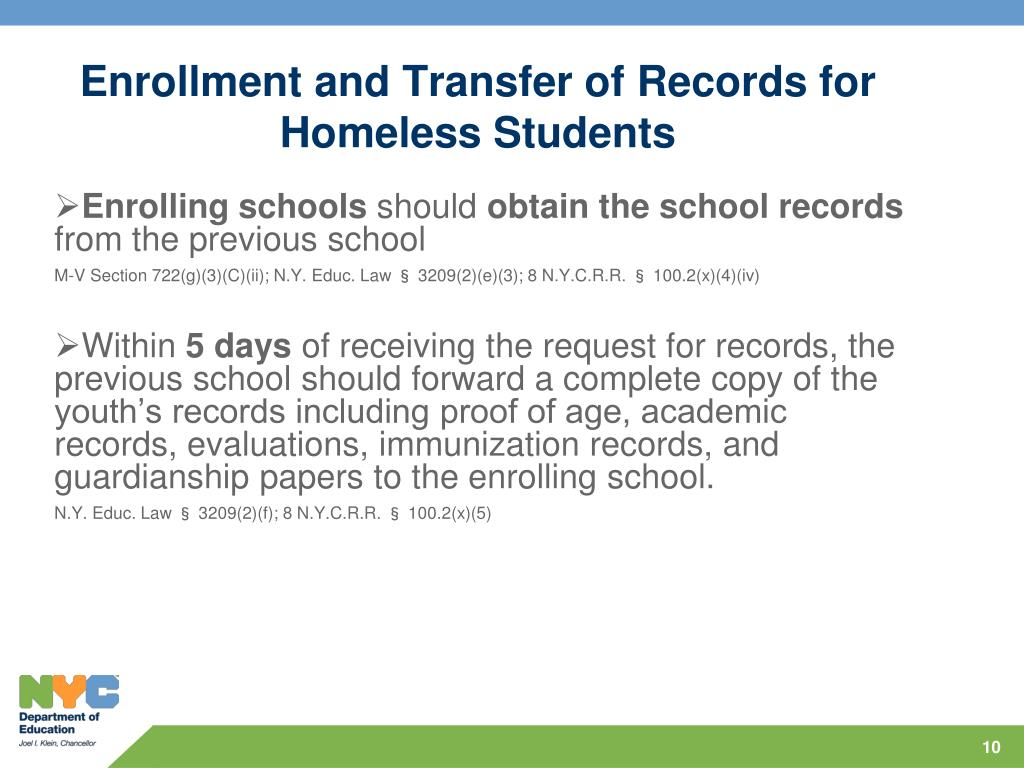 Enrollment and Transfer of Records for Homeless Students