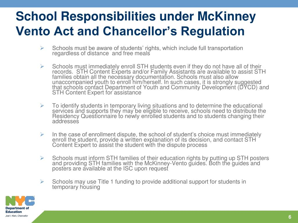 School Responsibilities under McKinney Vento Act and Chancellor's Regulation